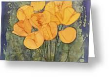 Yellow Tulips Greeting Card by Carolyn Doe