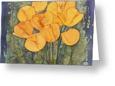 Yellow Tulips Greeting Card by Carolyn Doe