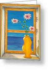 Yellow Vase With Sea View Greeting Card by Pamela Allegretto