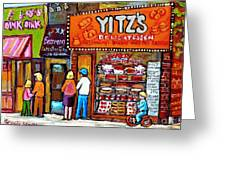 Yitzs Deli Toronto Restaurants Cafe Scenes Paintings Of Toronto Landmark City Scenes Carole Spandau  Greeting Card by Carole Spandau