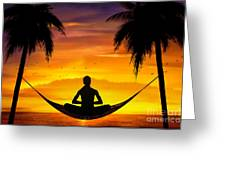 Yoga At Sunset Greeting Card by Bedros Awak