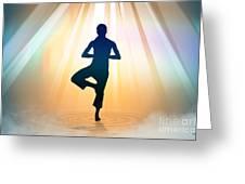 Yoga Balance Greeting Card by Bedros Awak