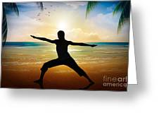 Yoga On Beach Greeting Card by Bedros Awak