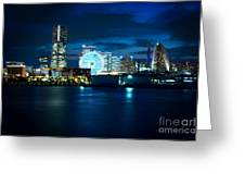 Yokohama Minatomirai At Night Greeting Card by Beverly Claire Kaiya