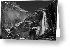 Yosemite Falls In Black And White Greeting Card by Bill Gallagher