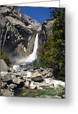 Yosemite Falls Rainbow Greeting Card by Jane Rix