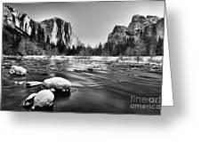 Yosemite Valley Greeting Card by Peter Dang