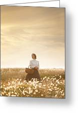 Young Edwardian Woman In A Meadow Greeting Card by Lee Avison