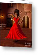 Young Flamenco Dancer Greeting Card by Fairy Fantasies