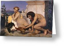 Young Greeks Attending A Cock Fight Greeting Card by Jean Leon Gerome