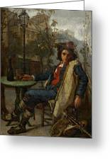 Young Italian Street Musician Greeting Card by Thomas Couture