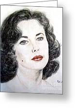 Young Liz Taylor Portrait Greeting Card by Jim Fitzpatrick