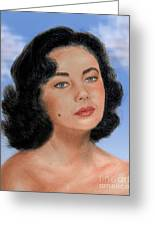 Young Liz Taylor Portrait Remake Version II Greeting Card by Jim Fitzpatrick