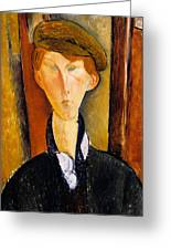 Young Man With Cap Greeting Card by Amedeo Modigliani