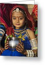 Young Rajathani At Mewar Festival - Udaipur India Greeting Card by Craig Lovell