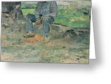 Young Routy At Celeyran Greeting Card by Henri de Toulouse-Lautrec