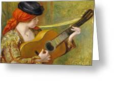 Young Spanish Woman With A Guitar Greeting Card by Pierre Auguste Renoir