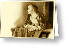 Young Woman On A Balcony Sepia Greeting Card by Joyce Geleynse