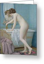 Young Woman Preparing Her Bath  Greeting Card by Jules Scalbert