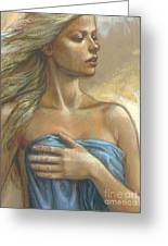 Young Woman With Blue Drape Crop Greeting Card by Zorina Baldescu