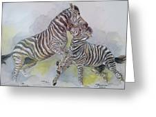 Zebras Greeting Card by Janina  Suuronen