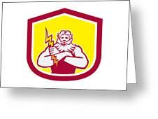 Zeus Greek God Arms Cross Thunderbollt Retro Greeting Card by Aloysius Patrimonio