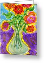 Zinnias And Roses Greeting Card by Tracy Smith