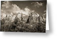 Zion Court Of The Patriarchs In Sepia Greeting Card by Tammy Wetzel