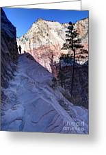 Zion National Park Hiker Climbs Hidden Canyon Trail Greeting Card by Gary Whitton