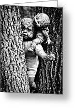 Zombie Dolls Black And White Greeting Card by Shelly Stallings