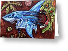 Zombie Eats Shark Greeting Card by Laura Barbosa