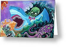 Zombie Handfishin Greeting Card by Laura Barbosa