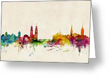 Zurich Switzerland Skyline Greeting Card by Michael Tompsett