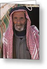 A Bedouin Man At The Camera In Front Greeting Card by Taylor S. Kennedy