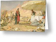 A Frank Encampment In The Desert Of Mount Sinai Greeting Card by John Frederick Lewis