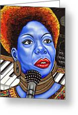 A Part Of Nina Simone Greeting Card by Nannette Harris