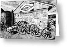 Antique Wagon Wheels Greeting Card by James Steele