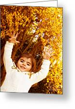 Baby Girl In Autumn Park Greeting Card by Anna Omelchenko