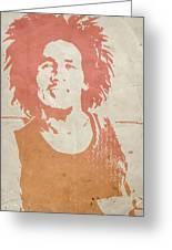 Bob Marley Brown Greeting Card by Naxart Studio