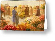 Flower Market  Greeting Card by Hendrik Heyligers