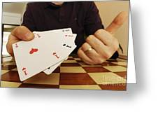 Four Aces In Hands Greeting Card by Sami Sarkis
