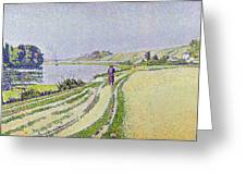 Herblay La River  Greeting Card by Paul Signac