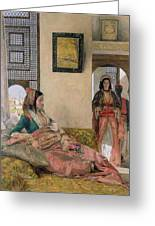 Life In The Harem - Cairo Greeting Card by John Frederick Lewis