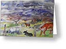 Mixed Farm Animals Graze In Field Greeting Card by Annie Gibbons