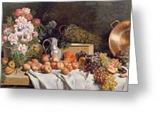 Still Life With Flowers And Fruit On A Table Greeting Card by Alfred Petit