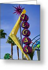 Vegas Sign Greeting Card by Garry Gay