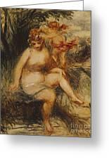 Venus And Love Allegory Greeting Card by Pierre Auguste Renoir