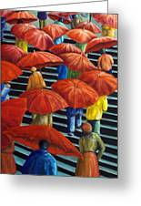 01149 Climbing Umbrellas Greeting Card by AnneKarin Glass