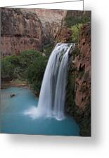 A Blue Waterfall Wets The Arid Greeting Card by Taylor S. Kennedy
