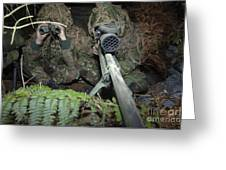 A British Army Sniper Team Dressed Greeting Card by Andrew Chittock